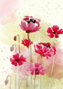 Bela mão pintada em fundo floral em estilo aquarela