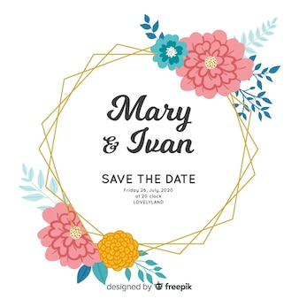 Bela mão pintado convite de casamento moldura floral