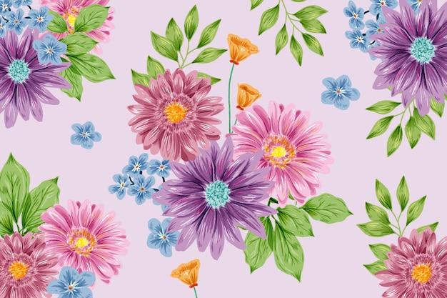 Bela mão pintado fundo floral