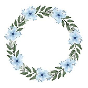 Bela moldura de círculo de guirlanda azul suave com flor azul e folhas verdes