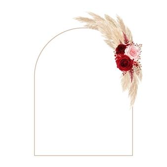 Bela moldura em arco com grama seca de pampa e rosas