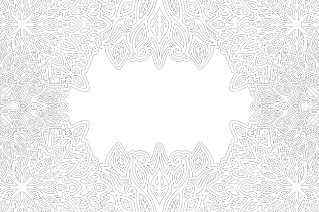 Bela monocromática linear com retângulo abstrato borda leste Vetor Premium
