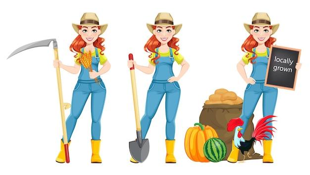 Bela mulher agricultora com três poses