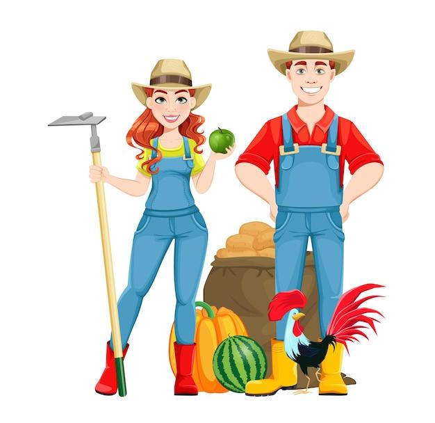 Bela mulher agricultora conjunto de onze poses personagem de desenho animado de agricultor linda