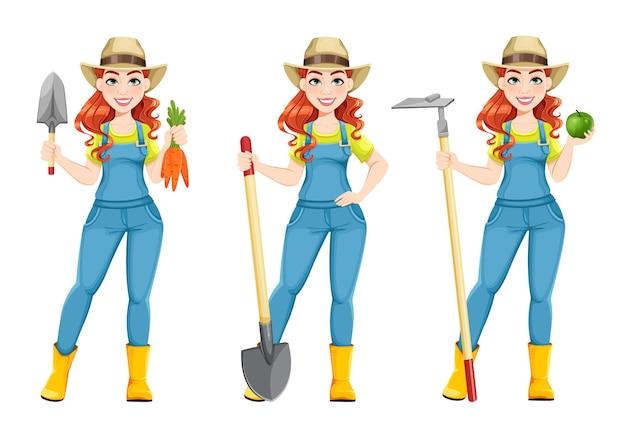Bela mulher agricultora, conjunto de três poses. personagem de desenho animado bonito de fazendeiro