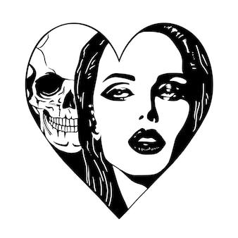 Bela mulher com uma caveira dentro da forma de coração desenho a mão