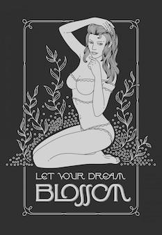Bela mulher sentada entre plantas
