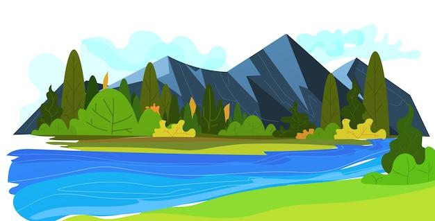 Bela natureza com fundo de paisagem cênica de montanha e lago horizontal