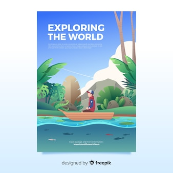 Bela natureza e modelo de cartaz de viagens