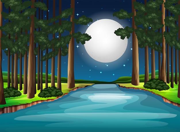 Bela natureza paisagem à noite