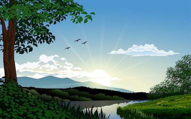 Bela natureza pela manhã com rio