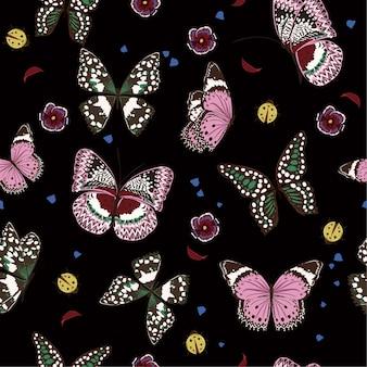 Bela noite borboletas voando sem costura padrão