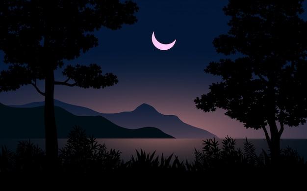 Bela noite com paisagem de lua crescente