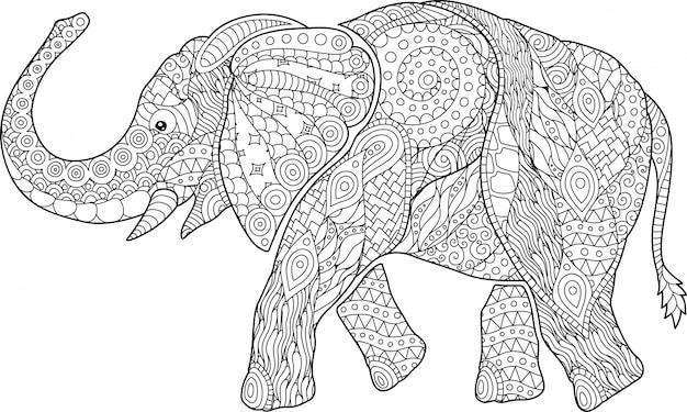 Bela página de livro para colorir com elefante dos desenhos animados