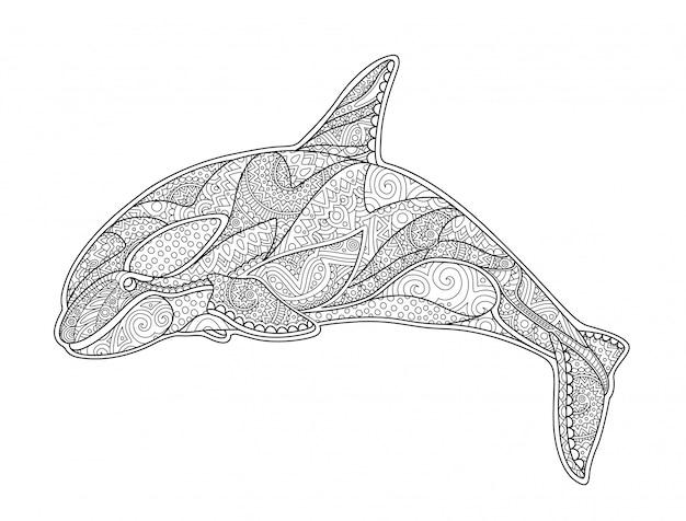 Bela página de livro para colorir com orca decorativa