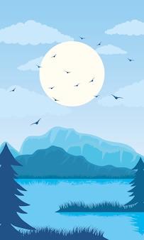 Bela paisagem cena de cor azul com lago e ilustração de pássaros