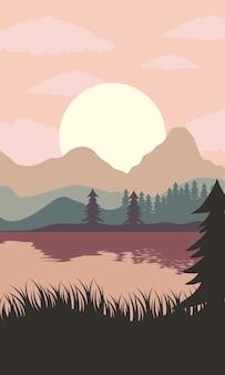 Bela paisagem cena do sol com ilustração do lago e da floresta