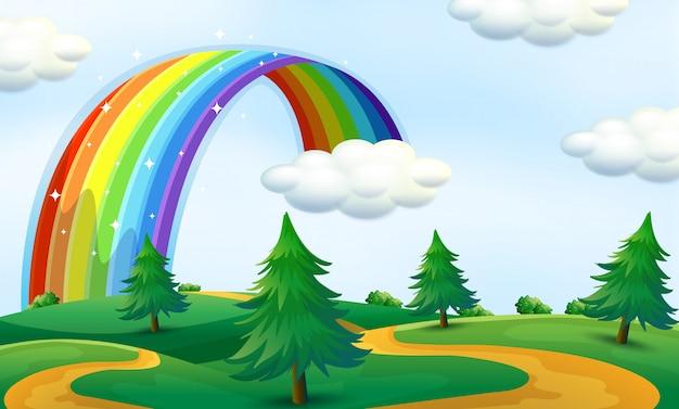 Bela paisagem com arco-íris
