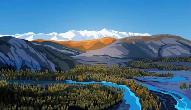 Bela paisagem com céu azul, rios, floresta, montanhas, nuvens e picos nevados
