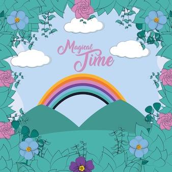 Bela paisagem com design gráfico ilustração vetorial de arco-íris dos desenhos animados