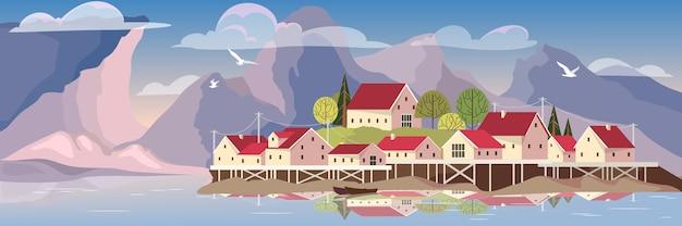 Bela paisagem com lago e aldeia.