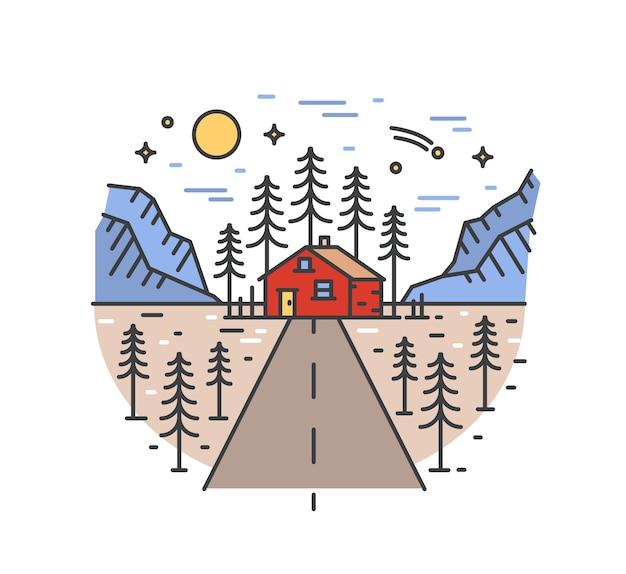 Bela paisagem com rodovia que leva a casa em floresta cercada por árvores abetos e montanhas.