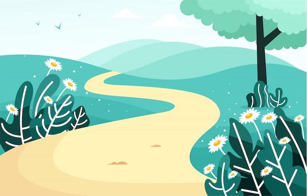 Bela paisagem com um caminho em uma colina