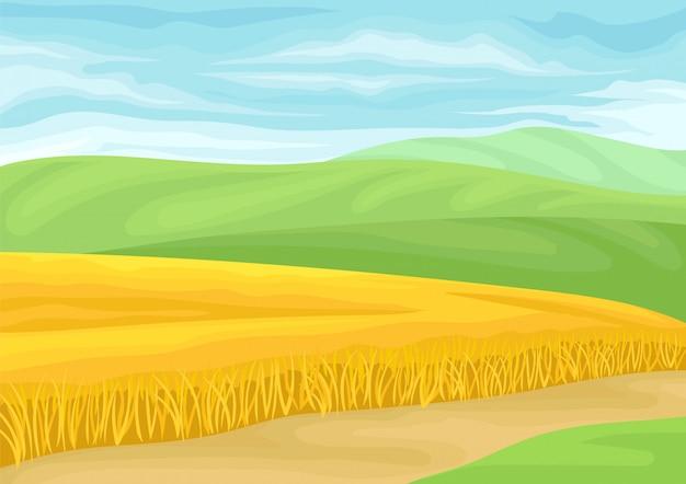 Bela paisagem com um campo de trigo.
