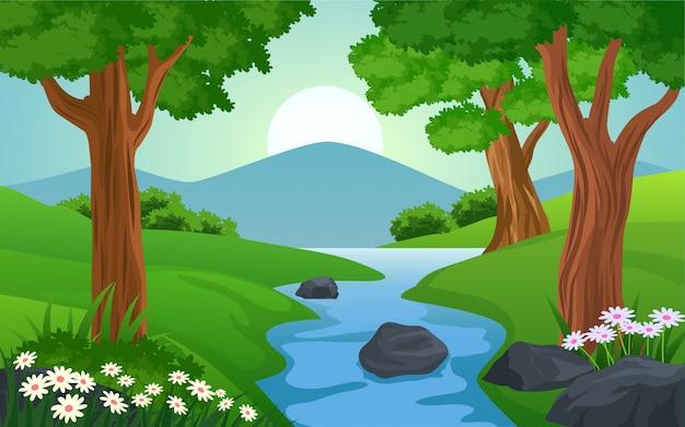 Bela paisagem da floresta com o rio