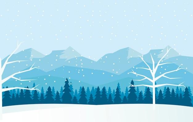 Bela paisagem de inverno azul com árvores e montanhas ilustração cena