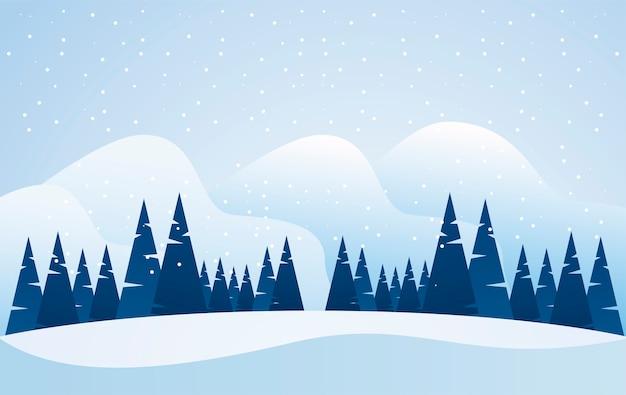 Bela paisagem de inverno azul com ilustração de cena de pinheiros