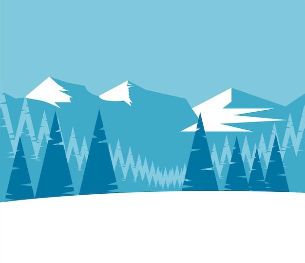 Bela paisagem de inverno azul com ilustração de montanhas e árvores