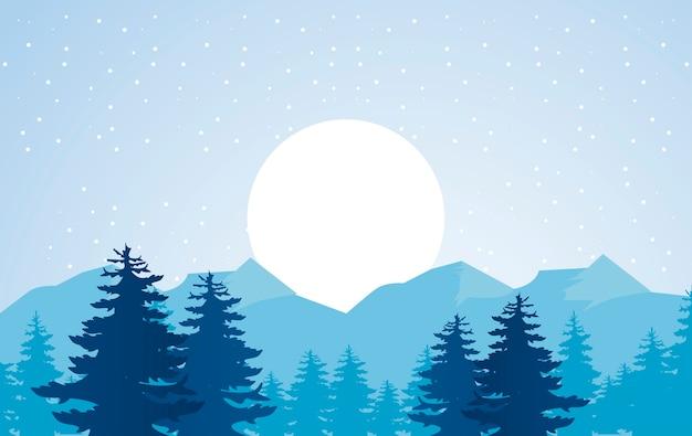 Bela paisagem de inverno azul com ilustração de sol e floresta