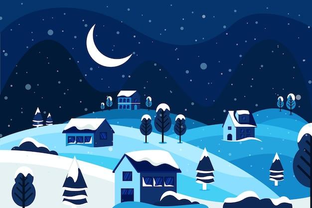 Bela paisagem de inverno durante a noite