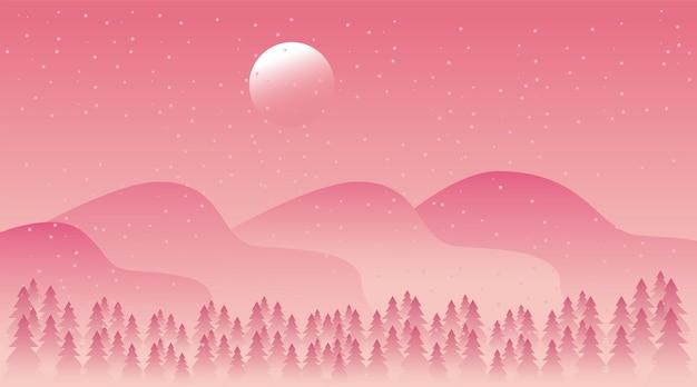 Bela paisagem de inverno rosa com ilustração de cena de floresta e montanhas
