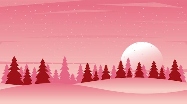 Bela paisagem de inverno rosa com ilustração de cena de floresta