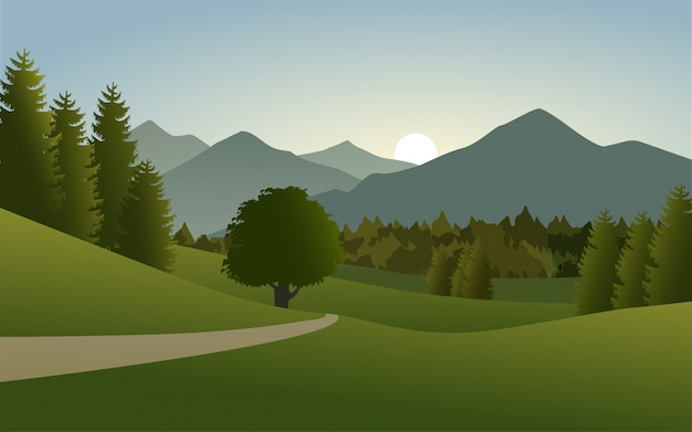 Bela paisagem de montanhas no campo