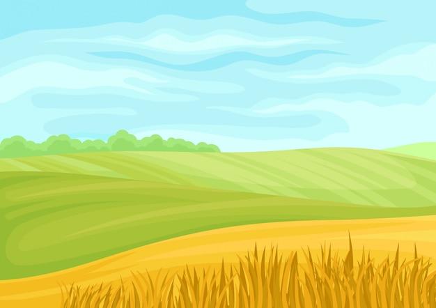 Bela paisagem de prados verdes e campos amarelos.