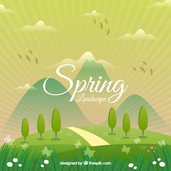 Bela paisagem de primavera com montanhas