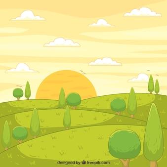 Bela paisagem desenhada mão
