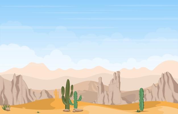 Bela paisagem do deserto ocidental com ilustração de sky rock cliff mountain