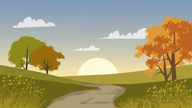 Bela paisagem natural ao nascer do sol com estrada vazia