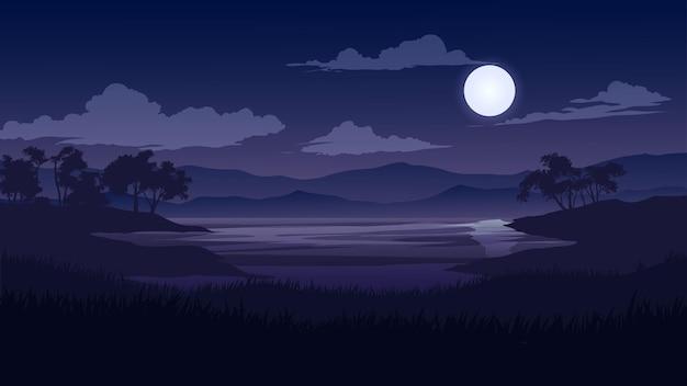 Bela paisagem noturna ao luar com lago e árvores