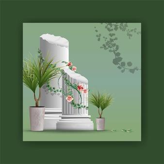 Bela peça de elementos de coluna, plantas, ramos videira design ilustração realista. Vetor Premium