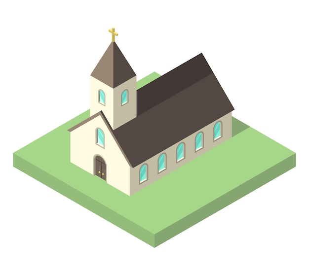 Bela pequena igreja isométrica em solo verde isolado no branco. conceito de cristianismo, religião e fé. design plano. ilustração em vetor eps 8, sem transparência