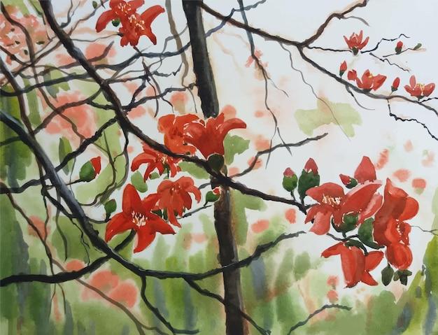 Bela pintura em aquarela de fundo de flores