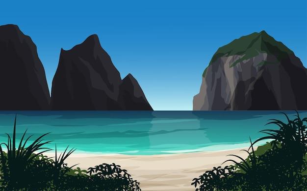 Bela praia com pedras e falésia