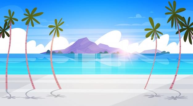 Bela praia tropical paisagem verão à beira-mar com palmeira e silhueta montanhas exótica paraíso cartaz