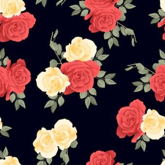 Bela rosa floral repetir sem costura padrão
