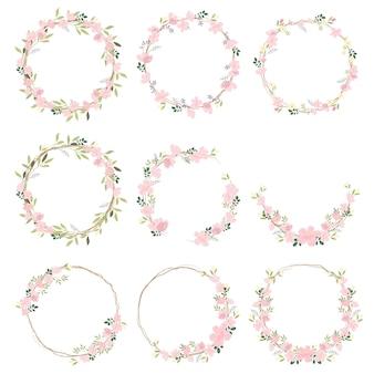 Bela rosa sakura ou alegre coleção de grinalda de flores flor